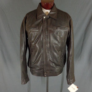 NWT Scully Brown Lamb Leather Motorcycle Jacket  L